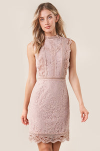 Be Mine Mixed Lace Bodycon Dress