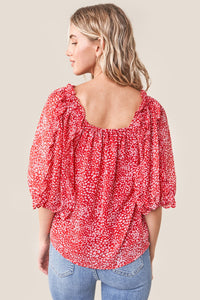 Saint Claire Floral Square Neck Blouse