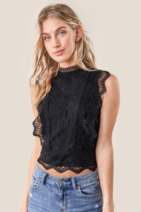 Be Mine Mixed Lace Crop Top