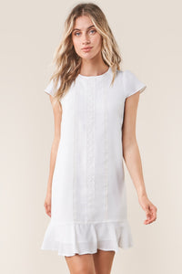 Santee White Lace Inset Shift Dress