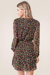 Spot Me Pleated Floral Shift Dress