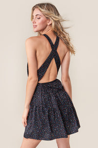 Reece Star Print Cross Back Halter Dress