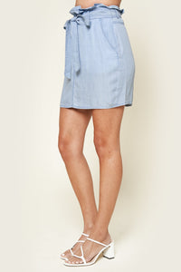 Arizona Frayed Chambray Mini Skirt