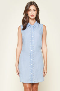 Cannes Chambray Button Up Mini Dress