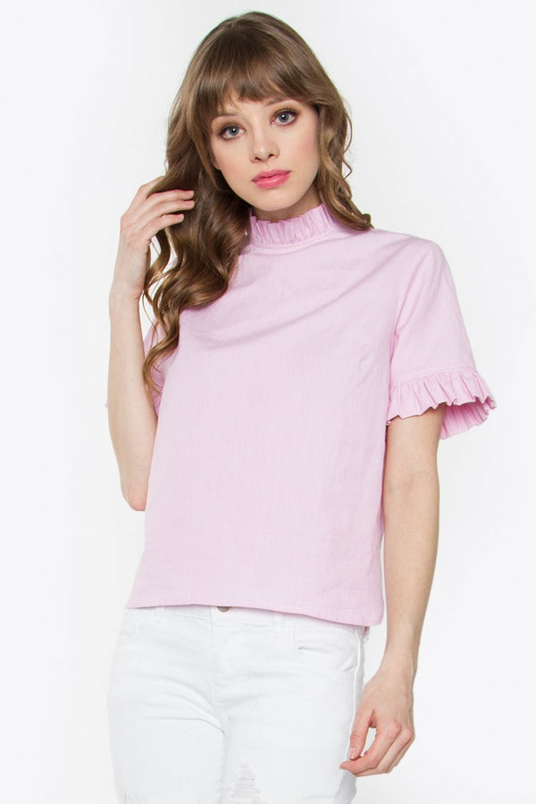 Janey Ruffle Pink Top