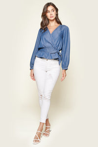 Texas Chambray Wrap Top