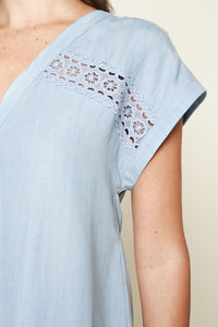 Cannes Chambray Crochet Trim Button Down Top