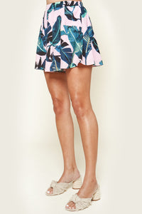 Dolce Tropical Print Pleated Shorts