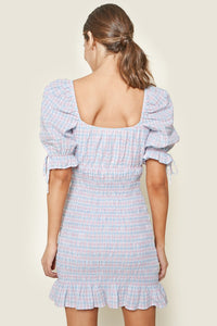 Finders Gingham Smocked Mini Dress