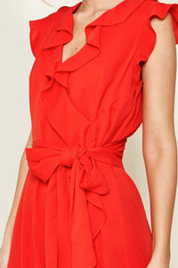 Radiant Ruffle Wrap Dress