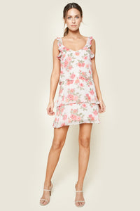 Garden Of Roses Floral Print Tiered Ruffle Mini Dress