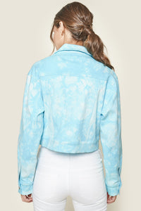 Stay Groovy Tie-Dye Cropped Denim Jacket