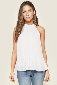 Acadia White Pleated Halter Top