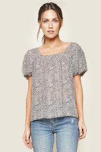 Anita Leopard Short Balloon Sleeve Blouse