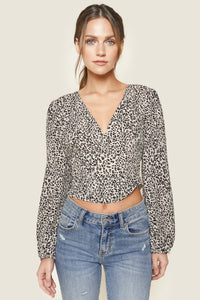 Wild About You Leopard Print Puff Sleeve Crop Top