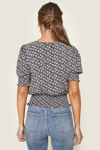 Moonage Floral Print Smocked Crop Top