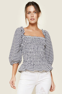 Addison Plaid Smocked Top