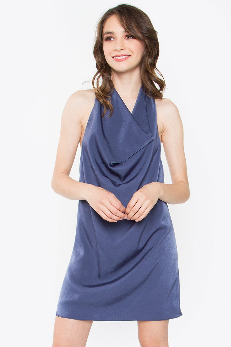 Karsyn Cowl Halter Navy Dress