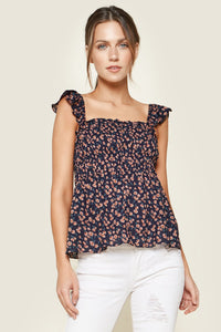 Sparkling Berry Floral Print Smocked Top