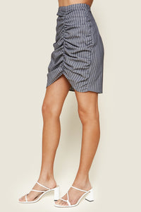 Halsey Striped Ruched Mini Skirt