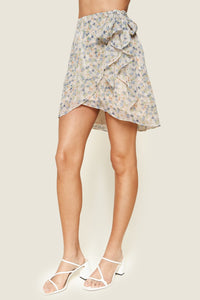 Princeton Floral Print Faux Wrap Mini Skirt