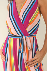 Andee Striped Surplice Jumpsuit