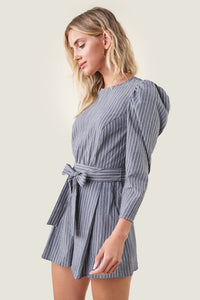 Charlie Striped Open Back Romper
