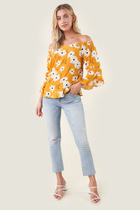 Good Grace Daisy Print Off The Shoulder Top