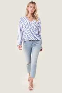 Mikal Striped Surplice Top