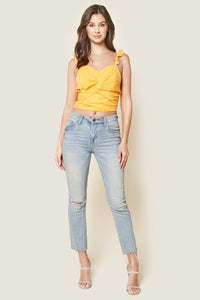 Morning Glory Eyelet Twist Front Crop Top