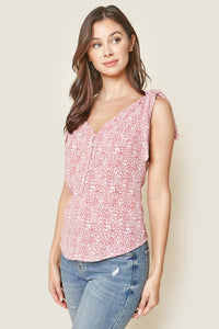 Elerie Sleeveless Floral Print Shoulder Tie Top