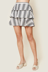 Urisa Black Striped Ruffle Mini Skirt
