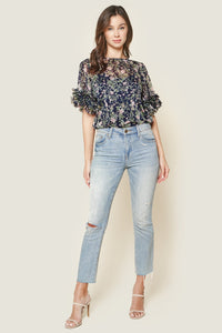 Purely Magic Floral Print Ruffle Top