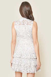 Cheviot Mock Neck Mini Lace Dress