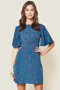 Ziggy Blue Leopard Print Flutter Sleeve Mini Dress