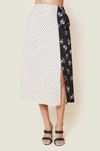 Love Actually Mix Media Midi Skirt