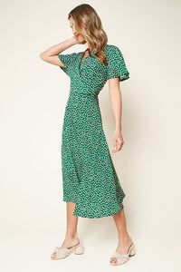 Mulberry Floral Faux Wrap Midi Dress