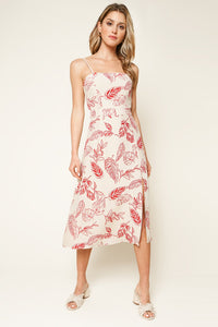 Golden Years Tropical Print Midi Dress
