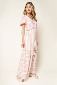 Tiegen Short Sleeve Striped Cut Out Maxi Dress