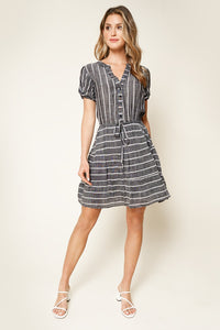 Shadow Well Striped Waist Tie Dress