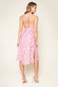 Yasmina Floral Print Cowl Neck Slip Dress
