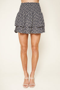 Moonage Floral Print Smocked Ruffle Mini Skirt