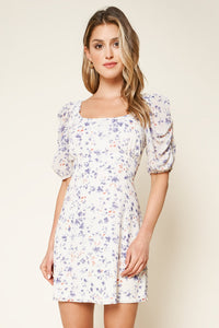 Elsie Floral Print Ruched Mini Dress
