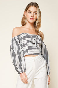 Urisa Black Striped Off The Shoulder Crop Top