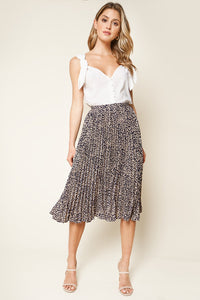 Better Love Pleated Leopard Print Midi Skirt
