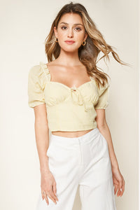 Las Casitas Seersucker Puff Sleeve Crop Top