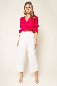 I Feel Love Ruffle Wrap Crop Top