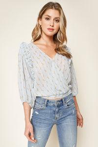 Odette Printed Surplice Blouse