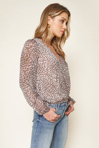 After Dark Pink Leopard Print Surplice Crop Top