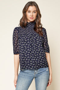 Reeva Floral Print Smocked Mock Neck Top